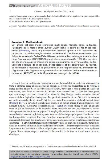 """Entre usage contrôlé invisibilisation etexternalisation. Le précariat étranger face au risquechimique en agriculture intensive""""2013 Décosse SduT_002"""
