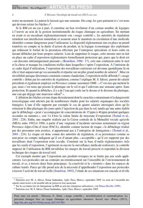 """Entre usage contrôlé invisibilisation etexternalisation. Le précariat étranger face au risquechimique en agriculture intensive""""2013 Décosse SduT_004"""