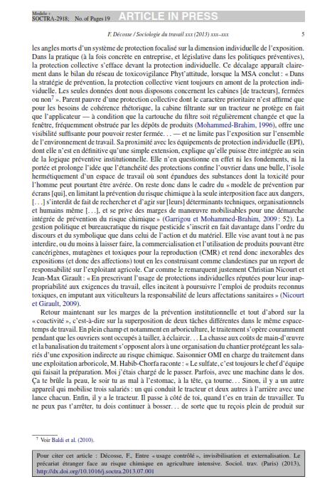 """Entre usage contrôlé invisibilisation etexternalisation. Le précariat étranger face au risquechimique en agriculture intensive""""2013 Décosse SduT_005"""