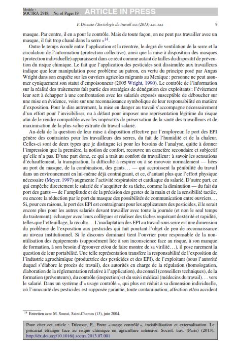 """Entre usage contrôlé invisibilisation etexternalisation. Le précariat étranger face au risquechimique en agriculture intensive""""2013 Décosse SduT_009"""