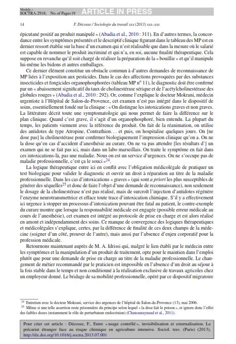 """Entre usage contrôlé invisibilisation etexternalisation. Le précariat étranger face au risquechimique en agriculture intensive""""2013 Décosse SduT_014"""