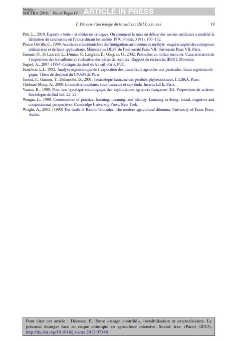 """Entre usage contrôlé invisibilisation etexternalisation. Le précariat étranger face au risquechimique en agriculture intensive""""2013 Décosse SduT_019"""