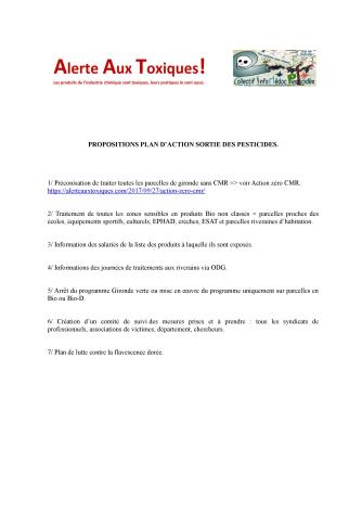 propositions plan action